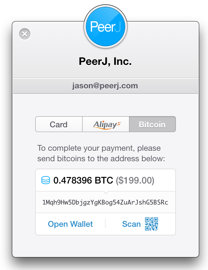 PeerJ accepts Bitcoin