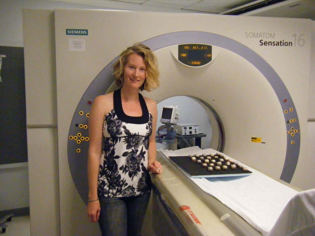 Corina Logan with the great-tailed grackle skulls at the CT scanner at Pueblo Radiology in Santa Barbara, California. Image credit: Christin Palmstrom