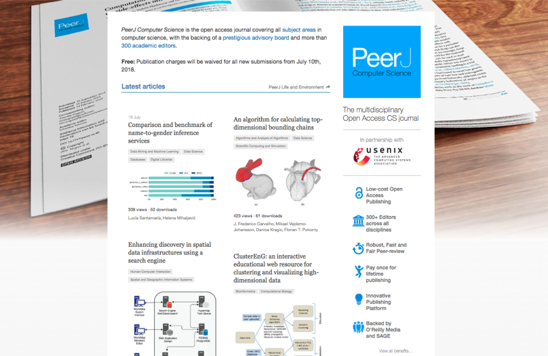 Publish for free in PeerJ Computer Science: Full fee waivers