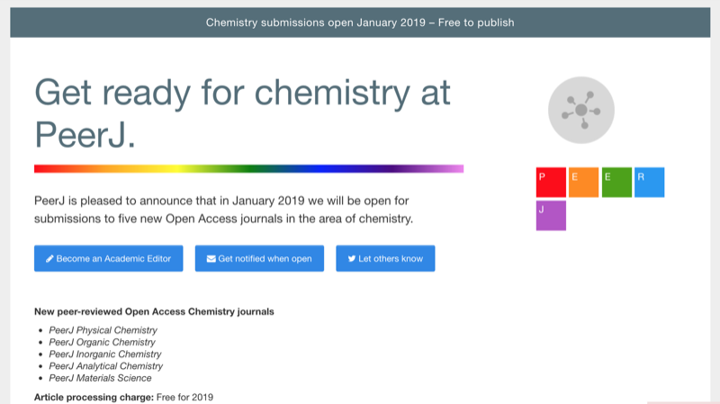 Get ready for Chemistry at PeerJ: Five new journals in Chemistry